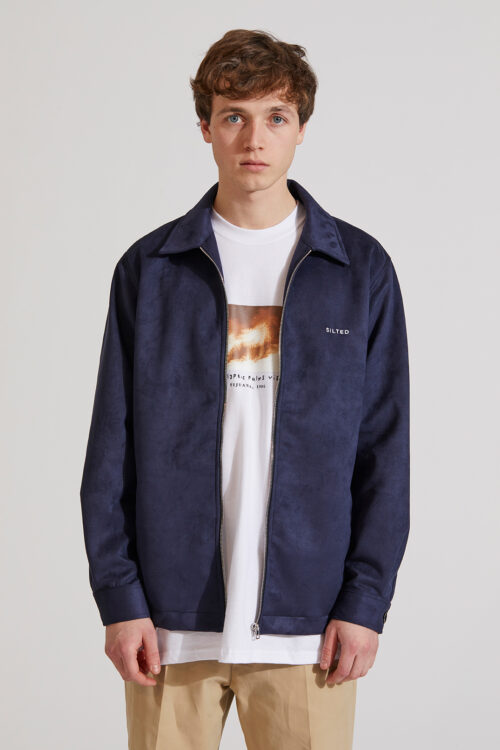 Suede Shirt Zip Navy